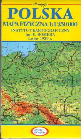 Polska Mapa Fizyczna W Skali 11 250 Tys Reedycja Mapy Wydanej We