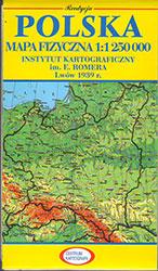 Polska. Mapa fizyczna w skali 1:1 250 tys. Reedycja mapy wydanej w 1939 r