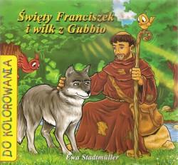 Święty Franciszek i wilk z Gubbio. Kolorowanka