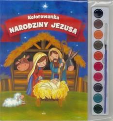 Narodziny Jezusa. Kolorowanka z farbami i pędzelkiem